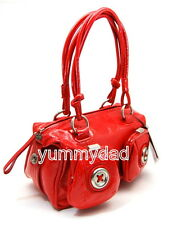 MIMCO MINI METAL BUTTON ZIP TOP BAG IN PATENT RUSSIAN RED BNWT RRP$399