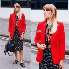 ZARA STUNNING RED TAILORED DOUBLE BREASTED JACKET SIZE S UK 8