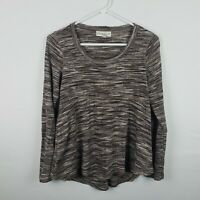 Knox Rose Womens Top Size XS Brown Long SLeeve Scoop Neck Thermal Knit Shirt