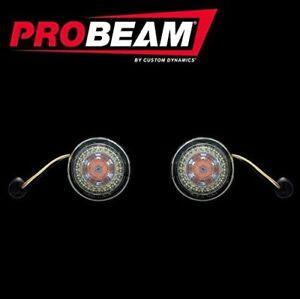 Custom Dynamics Probeam Dynamic Ringz Turn Signals Smoke Lens Harley Front 1157