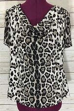 Dressbarn Collection Sequined Leopard Print Short Sleeve Cowl Neck Top Blouse XL
