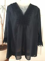 Donna Moore Black Kaftan Beach Cover Up New Tags Size L