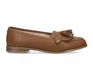 Carvela Women's Tan Brown Slip On Flat Fringed Loafer Shoes sz 5 38 Kurt Geiger