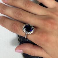 3.48 Carat Oval Natural Diamond Blue Sapphire Ring 14K White Gold Size M N O P Q