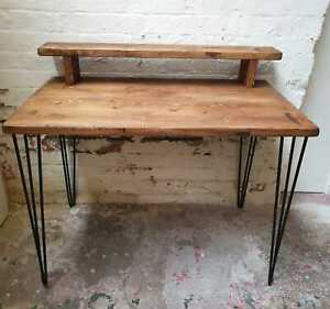 solid wood rustic hairpin desk with monitor stand