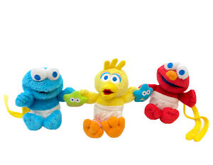 Playgro Baby Elmo Big Bird Cookie Monster Sesame Street  Pram String Plush Toy