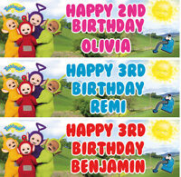2 x Personalized Teletubbies Birthday Banner Nuersry kid Party decoration poster
