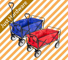 Folding Garden Trolley Trailer Rust Free Cart Heavy Duty Blue Red Farm Wagon AU
