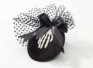 Skeleton Mini Hat W/Clips Gothic Mini Hat with Skeleton Hand