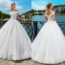 White Ivory Wedding Dresses Princess Ball Gown Off Shoulder Lace Up Corset Back
