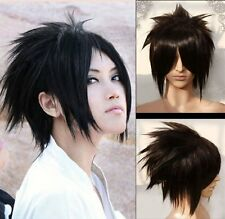 Naruto Sasuke Uchiha peluca Wig anime cosplay negro corto Fairy Tail Gray