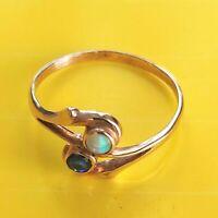 ANTIK STIL Jugendstil Damenring Echt 333 Rose Gold Echter Opal + Saphir