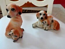SEt of 2 brown and tan dog figurines -mom and baby    (lot1)