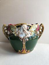 +++ Cache Pot Barbotine majolique ONNAING 824 art nouveau Mucha vers 1900 +++