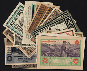 1920's Germany Notgeld Lot 20 Vintage Old Emergency Money Banknote Collection 1