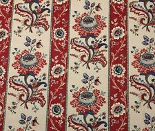 "P KAUFMANN INDIAN FLORAL STRIPE RED D3020 BLUE FLOWERS FABRIC BY YARD 54""W"