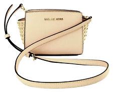 Michael Kors Selma Cross Body Bag Ballet Pink Studded Leather Small Handbag