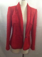 ESCADA  scarlet red alpaca boucle jacket  coat silk wool size M 38 8