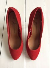 Primark Red Faux Suede Round Toe Heels, Size UK 5 Immaculate