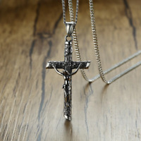 Cross Pendant Necklace Silver Stainless Steel Crucifix Men Women Unisex Chain