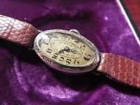 Schöne 800 Silber Armbanduhr Jugendstil Art Deco Saphir Lederband Elegant Defekt