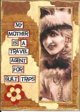 ACEO ATC Art Collage Print Ladies Women Mom Mother Travel Agent Guilt Trips Trip