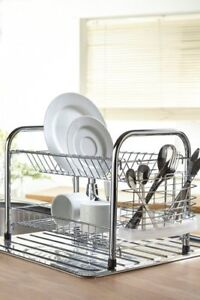 New Chrome Kitchen Washing Up Drainer Tray Pot Holder Dryer Dish Rack