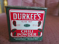 Vintage Durkee's Chili Powder Spice Tin - Image Of Peppers 1 1/4 oz Tin