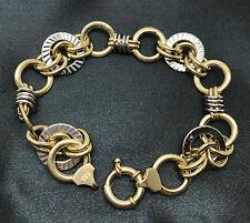 BICOLOR Anker Ketten Kreise Armband Gelbgold Weißgold 585/14K ca. 19 cm  11,3 g