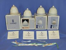 Lot Of 4 Lladro Christmas Bell Ornaments 1989, 1990, 1993, 1994 Mint With Boxes!