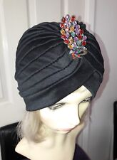 vintage inspired 1920s 1930s style black hat turban one size with brooch