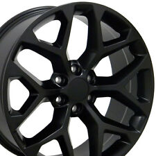 "20"" Wheels for GMC Sierra Chevy Silverado Tahoe Yukon Snowflake Black Rims Set 4"