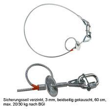 Safety 60cm max. 20/30 kg 3mm Sicherheitsfangseil Drahtseil nach BGVC1