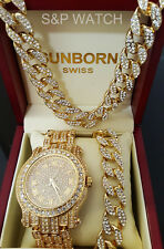 Men Hip Hop Iced Out Gold Tone Lab Diamond WATCH & Cuban Bracelet & Necklace Set