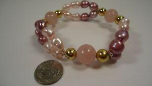 Lee Sands Wacky Friday Pearl Baroques Pink & Mauve w Rose Quartz  Bracelet