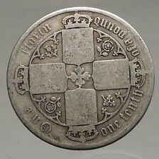1848-1887 United Kingdom Great Britain VICTORIA Old Silver Florin Coin i56691