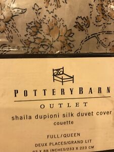 "Pottery Barn Shaila Paisley Dupioni Silk  Duvet Cover Full/ Queen 92 X 88"" New"