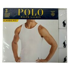 Polo Ralph Lauren Cotton Ribbed Tanks Classic Fit Medium White 3 Pack