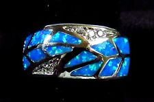 """Sterling 925 Silver SF Size 5 Ring Blue Lab Fire Opal & White Topaz 3/8"""" Wide"""
