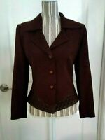 Vtg Alberto Makali Brown Wool Blazer Jacket Size 6 Leather Trim