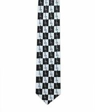 Treble Clefs on Black/White Squares Tie - Music Gift - Music Tie for Musicians