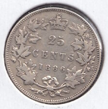 1886 quarter Dollar / Twenty Five Cents - Silver Canadian Coin