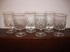 6 anciens verres à Eau ou Vin en cristal des années 40