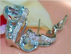 4 Ct Oval Aquamarine & Diamond Unique Huggie Hoop Earrings 14K White Gold Finish