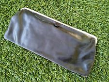 Hobo Black Leather Flat Clutch Red Inside Silver Detail Magnetic