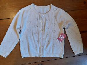 Girls cream cardigan age 5 - 6 years hearts pattern