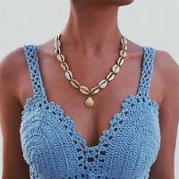 Stylish Beach Bohemian Natural Shell Necklace Pendant Choker Chain Women Jewelry