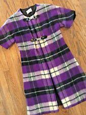 Vtg 60s 70s Plaid Mod Gogo Secretary Geek Wool Blanket Jacket Vest Dress Coat XS