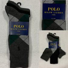 Polo Ralph Lauren Men's Dress Socks 3 Pair Gray/Green Argyle Black, Gray Solid