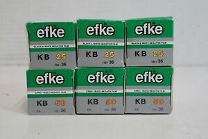 (S) Efke 50 & 25 ISO 35mm Black & White Negative Film 36 Exp 6 Rolls - Expired